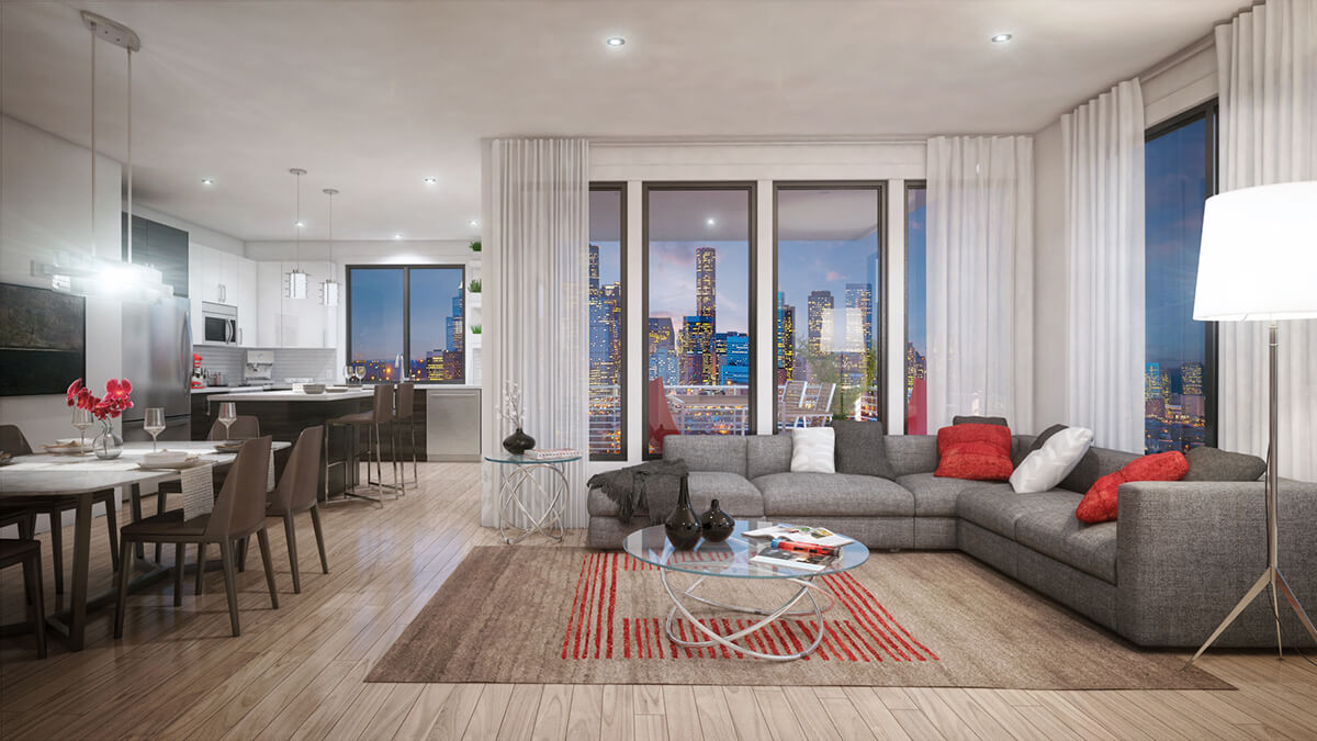 The Isabella at Midtown typical open floor plan
